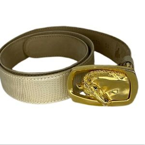 Escada Tan Leather and Gold Hardware Belt